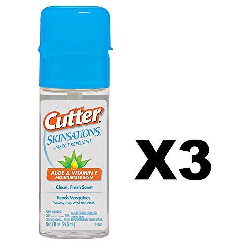 Spectrum Cutter Skinsations Insect Repellent 1oz Travel Size Pump Spray 7% DEET (3-Pack)