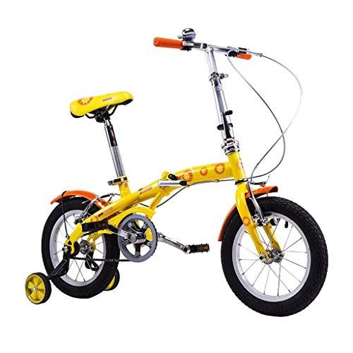 Chenbz Bicicletas de los niños de la Bicicleta Plegable Boy Bicicletas de 14 Pulgadas Bicicletas idóneo for niños 100-120cm de Altura Mejor Regalo for los niños (Color: Naranja, Tamaño: 14 Pulgadas)