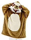 vavalad Sloth Wearable Blanket Sweatshirt Sherpa Oversized Hoodie TV-Blanket with Sleeves and Pockets for Adults Men Women Teens One Size Fits All