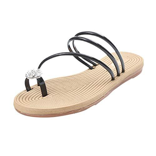Damen Sandalen mit Strass Bequeme Flache Beach Strandsandale Slingback Peep Toe Slip On Hausschuhe Slipper Sommer Outdoor Sandals Freizeitschuhe(1-Schwarz/Black,38)