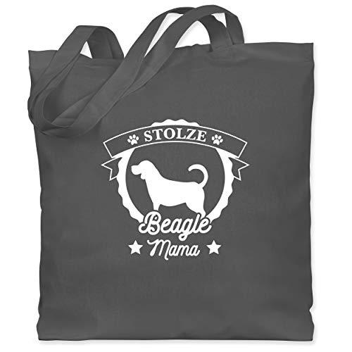 Shirtracer Hunde - Stolze Beagle Mama - Unisize - Dunkelgrau - Geschenk - WM101 - Stoffbeutel aus Baumwolle Jutebeutel lange Henkel