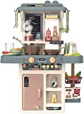 YUKM Finge Set de Juguetes de Estufa de Cocina, Juego de Accesorios de Juguete de Cocina de Juego, con Sonidos y Luces Reales, adecuados para niños de 1 a 3 años (Multicolor)