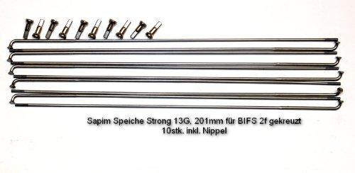 Sapim radios Strong 2,0/2,34mm 13g, 201mm, para bifs 26pulgadas 2F cruzado, 10stk. radios Incluye entrerrosca