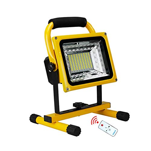 DALIBAI Luz de trabajo LED recargable de 500 W, reflector inalámbrico portátil, foco impermeable con control remoto, 6 modos regulables (capacidad de la batería: 1200 W)