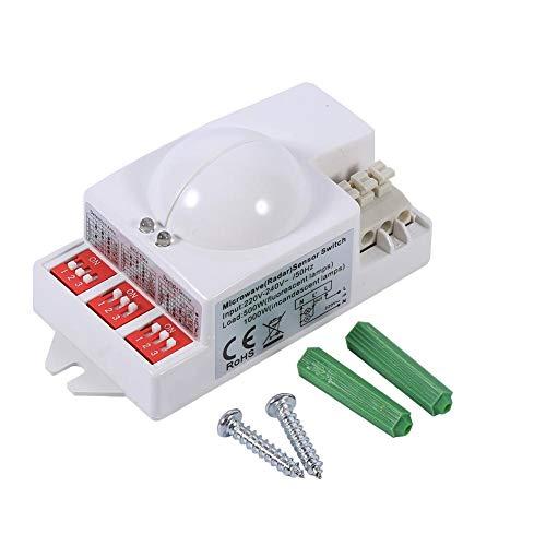 Interruptor de radar de luz de sensor de microondas, Delaman 360 ° 500W Interruptor de radar de microondas de microondas Sensor de...