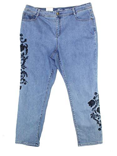 Style & Co. Womens Plus Ebony Rose Denim Embroidered Slim Leg Jeans Blue 16W -  100004215W