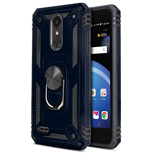 CasemartUSA Phone Case for [LG Phoenix 4 / LG Phoenix 3 (AT&T)], [Loop Series][Navy Blue] Shockproof Defender [Full Rotating Metal Ring] Cover with [Kickstand] for LG Phoenix 3 & LG Phoenix 4 (AT&T)