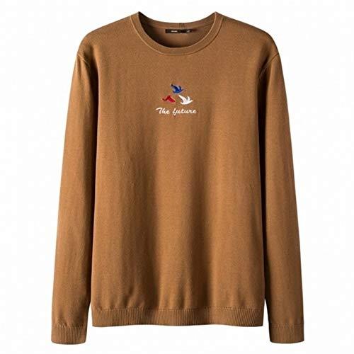 QYXJJ Lange Hülse der Männer Chunky Knit-Winter-warme Pullover Rundhals Pullover aus 100% Baumwolle Bestickt Pullover Crewneck gerippte Bündchen Pullover Sweater (Color : Brown, Size : S)