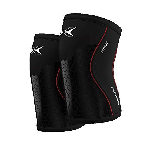 PicSil Rodilleras (1 PAR) - 5&7mm Knee Sleeves - Rodilleras para Halterofilia, Deporte Funcional, Levantamiento de Pesas, Running.Hombre y Mujer (5mm - Large, Black&Hexagon)
