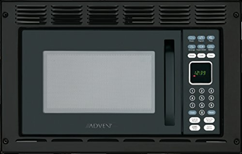 Advent MW912BK Black Built-in Microwave Oven with Trim Kit specially built for RV Recreational Vehicle, Trailer, Camper, Motor Home, Boat etc., 0.9 cu.ft. capacity, 900 watts of cooking power and 10 adjustable power levels let you boil, reheat, defrost and more, 6 pre-programmed one-touch digital cook seetings let you easily prepare popcorn, pizza, frozen entrees or beverages at the touch of a button, Glass turntable rotates foods to provide even cooking, Easy access door, Black