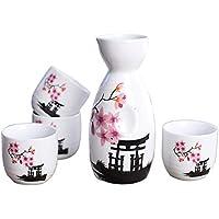 Lawei Conjunto de 5 piezas de sake de cerámica japonesa, diseño de flor rosa