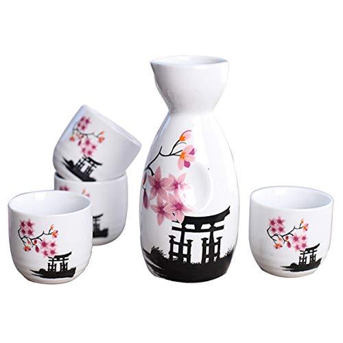 Lawei Japanische Sake Set 5-Teilig aus Keramik Handbemalt Keramiktassen für Basteln, Rosablüte