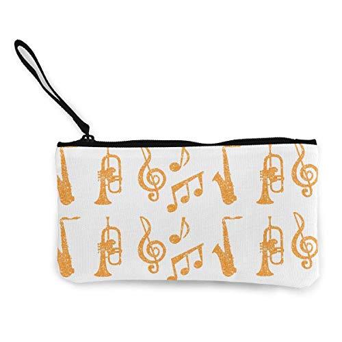 Unisex Geldbörse, Münztaschen, Leinwand Geldbörse Reißverschlusstasche Brieftasche für Handy Bargeld Bankkarte Pass Münze Saxophon Trompeten Musik Gold Wristlets Tragbare Tasche