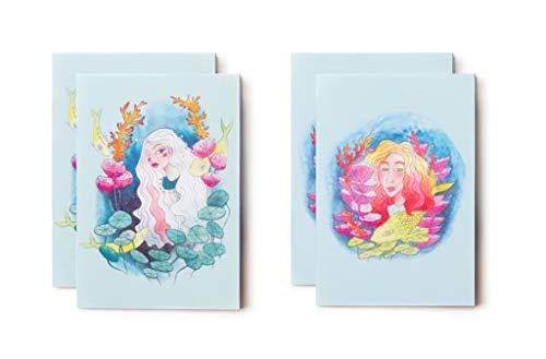 """4 libretas de notas – Fantasía y original: formato bolsillo A6-2 modelos """"Sirena y peces azules"""" – 48 páginas en blanco"""