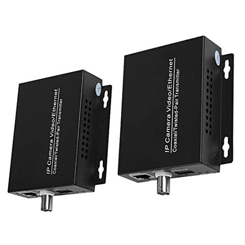 LAANCOO Extensor de Red IP IP HD Transmisión coaxial Extender para Cable coaxial de Enchufe del Puerto de Juego convertidor Negro 1 Par