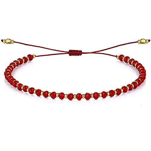KELITCH Pulsera con Cuentas De Cristal para Mujer Brazalete Tejido A Mano con Hebra De Cuerda 2021 (Rojo Brillante 17C)