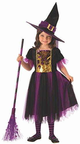 Halloween - Disfraz de Bruja para niña, dorado y morado - 3-4 años (Rubie