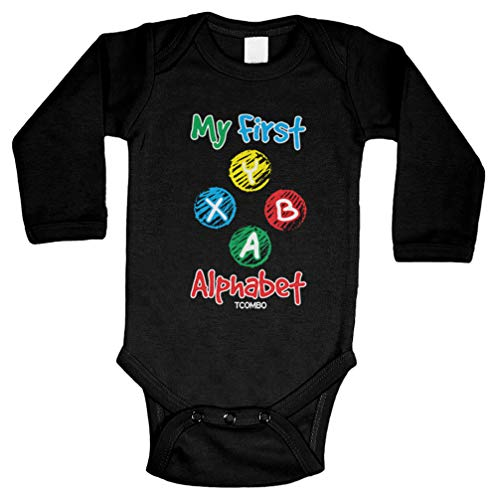 Tcombo My First Alphabet - Gamer Gaming Funny Long Sleeve Bodysuit (Black, 6 Months)