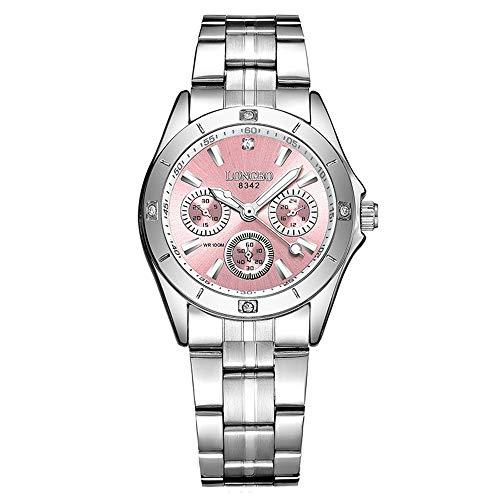 GOHUOS Damen Armbanduhren, Chronograph Analog Quarz Uhr für Frauen mit Edelstahl Band, Silber(Rosa)