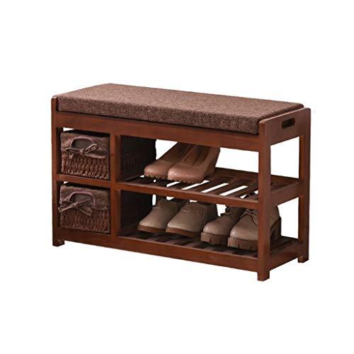 DNSJB Zapato de madera sólida del estante de algodón cojín con la cesta del almacenaje del zapato Gabinete simple y moderno de dos pisos transpirable cambiar sus zapatos de heces taquillas ahorro de e