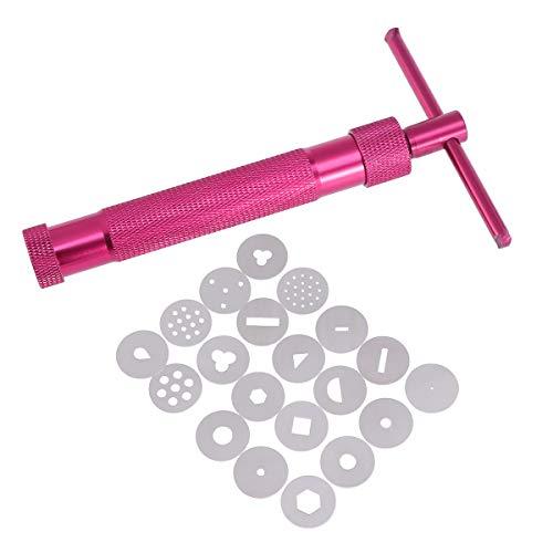 BESTonZON Fondant Presse Tonpressen Pistole mit 20 Formen Zuckerpaste Extruder Maschine Tortendeko Werkzeug (Rot)