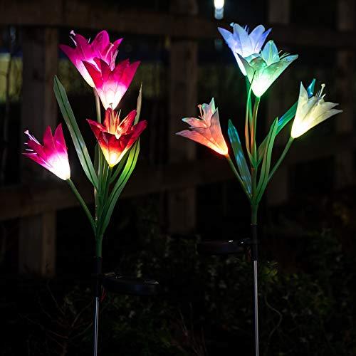 GloBrite Lot de 2 lampes solaires à LED en forme de fleur de lys 7 couleurs changeantes Pour jardin terrasse cour allée décoration de fête