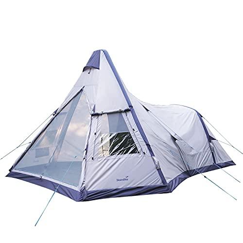Skandika Tipi Kotona Air Luftzelt für 4 Personen | Zelt aufblasbar, Air Rise Technology, Schlafkabine, wasserdicht, eingenähter Zeltboden, 2,6 m Stehhöhe, schneller und einfacher Aufbau