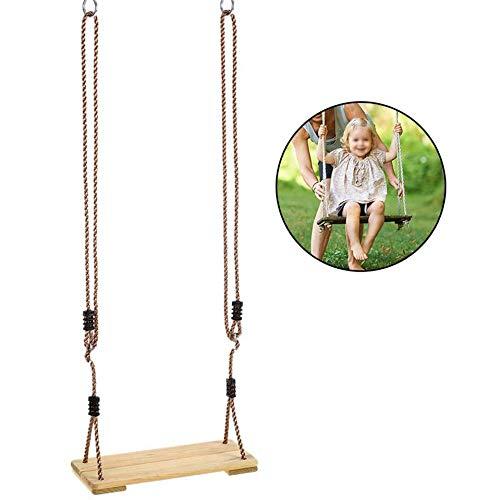 Houten schommelzitje - Nostalgische hangende schommels voor kinderen - Duurzaam berken, Verstelbaar touw van 43 tot 70 inch, Capaciteit van 132 lbs
