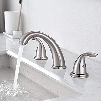 Bathroom Sink Faucet, DALMO Widespread 2-Handle Lavatory Faucet, Brushed Nickel Copper Resist Corrosion Bathroom Faucet with Pop-up Drain Assembly &Two Water Supply Lines with 3 Holes