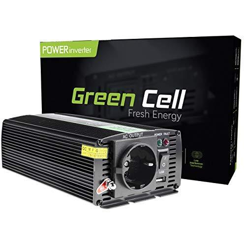 Green Cell® 300W/600W 12V auf 230V Reiner Sinus Spannungswandler Wechselrichter Konverter Pure Sine Power Inverter Umwandler für Auto, Direktanschluss an Autobatterie, Zigarettenanzünder Stecker inkl.