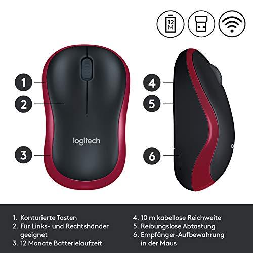 Logitech M185 Kabellose Maus, 2.4 GHz Verbindung via Nano-USB-Empfänger, 1000 DPI Optischer Sensor, 12-Monate Akkulaufzeit, Für Links- und Rechtshänder, PC/Mac - Rot - 6