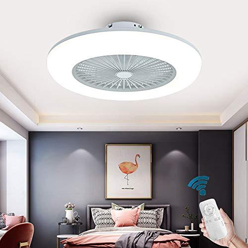 OUKANING Deckenventilator mit Beleuchtung Moderne Lüfter Schlafzimmer-Lampe Deckenleuchte 3-Farbtemperatur Dimmbar mit Fernbedienung Deckenlampe Weiß Rund Wohnzimmer Esszimmer Dekor Fanlampe (Weiß)