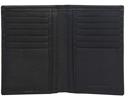 Amazon Brand - Eono Geldbörse aus Leder für Damen und Herren – Flaches Design mit RFID Ausleseschutz-Funktion (Rindnappaleder schwarz)
