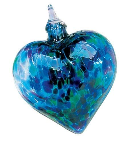 Glass Eye Studio Hand Blown Glass Heart Ornament - Blue Mosaic