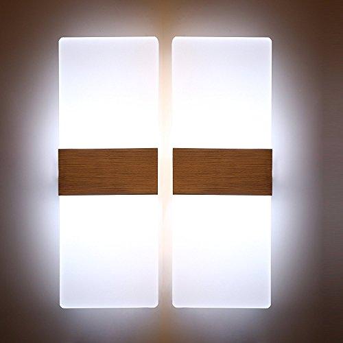 Glighone 12W Applique da Parete Interni Lampada a Muro Applique LED Moderne in Acrilico per Decorazione Soggiorno Camera da Letto Bagno Colore Bianco Freddo 2 Pezzi