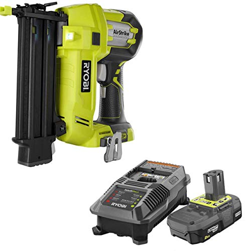 Ryobi 3 Piece 18V One+ Airstrike Brad Nailer Kit (Includes: 1 x P320 Brad Nailer, 1 x P190 18-Volt ONE+ 2.0 Ah lithium-ion battery, P118 dual chemistry charger (Renewed)
