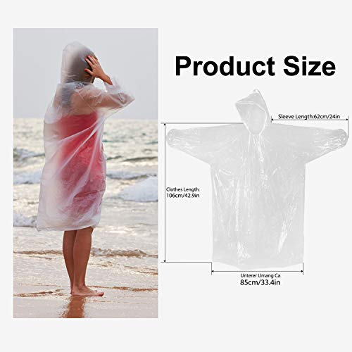 Roysmart Rain Poncho Disposable, Clear Adult Ponchos with Hood, 10 Pack Raincoat for Men Women, Emergency Rain Ponchos for Theme Parks, Hiking, Camping, Sports Events and Rainy Outdoors