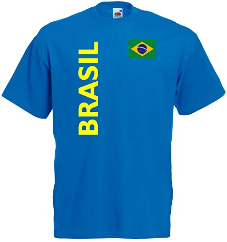 Fruit of the Loom Brasilien Herren T-Shirt Brasil Trikot Fan Shirt|royal XXL