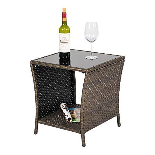 Kinsunny Patio Wicker Bistro Table Rattan Square Outdoor Furniture Woven Desk Side with Black Glass Top, Dark Blonde