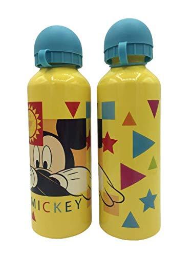 ML Una Botella de Agua de Aluminio Mickey mause, cantimplora a Prueba de Fugas sin BPA para Levar a la Escuela y Deportes el Termo 500ml para niños y niñas (Amarillo)