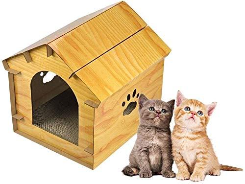 Gesimuleerde Houten Cat House met Voordeur DIY Cat Bed Cat Nest Pet Bed for binnen en buiten Pet Shelter 12.18 * 12.06 * 12 in (Color : Yellow)