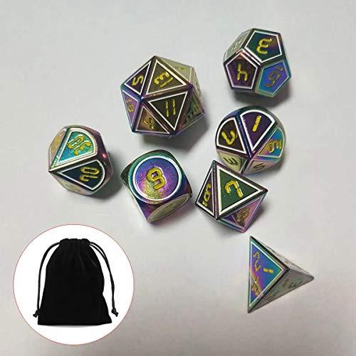 Dfghbn Dados Poliédricos 7pcs Set Antiguo Metal Poliédrica Dados Juego de rol for los Amantes del Juego Dados de Juego de Roles (Color : Yellow, Size : One Size)