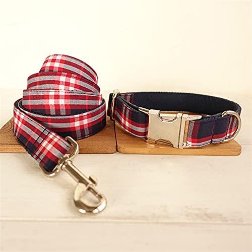 JIETAOMY Collar de Perros Collar de Perro y Correa fijados a Cuadros Rojos Azules (Color : Collar Leash, Size : 40-50g)