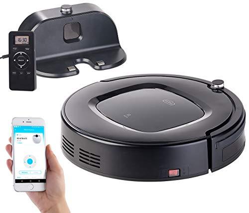 Sichler Haushaltsgeräte Staubsauger: WLAN-Reinigungs-Roboter mit Wischfunktion & App, komp. zu Amazon Alexa (Roboter Staubsauger)