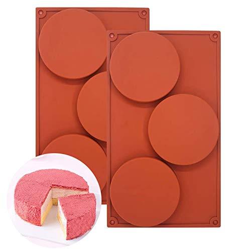 2PCS Silikon-Backform mit 3 Kavitäten, rund, antihaftbeschichtet, Backformen für Kuchen, Süßigkeiten, Seifenherstellung, Epoxidharz, Bastelprojekte