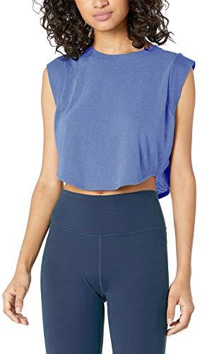 Sanutch Crop Top Workout Shirts for Women Athletic Yoga Gym Tops Womens Crop Workout Tops Cropped Workout Tank Purple, Medium