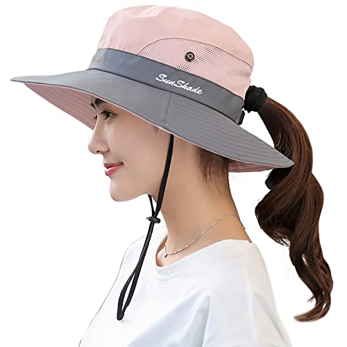 Muryobao Women's Sun Hat Outdoor UV Protection Foldable Mesh Bucket Hat Wide Brim Summer Beach Fishing Cap Pink