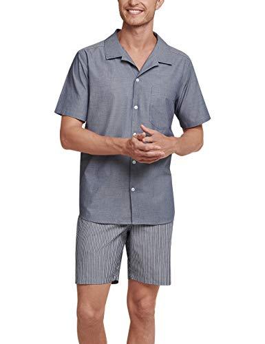 Seidensticker Chambray Pyjama Kurz Pigiama, Blu (Navy 815), XXXX-Large (Taglia Produttore: 060) Uomo