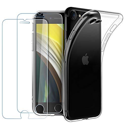EasyAcc Custodia + Pellicola in Vetro Temperato Compatibile con iPhone SE2020 (2 Pezzi), TPU Cover Limpido Trasparente Slim Anti Scivolo Protezione Case Antiurto