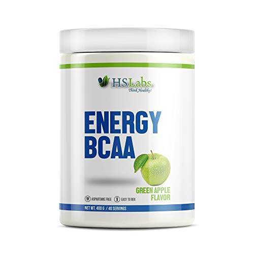 HSLabs BCAA ENERGY Powder 400g 40 Servings Branched Chain Amino Acids Complex Intra Pre Workout Energy Muscle Recovery Drink Leucine Valine Isoleucine Glutamine Alanine Citrulline Tyrosine Tryptophane